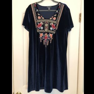 Chelsea and Theodore embroidered velvet dress